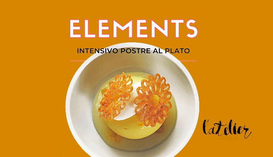 Cartel del curso Elements de postres al plato impartido por Andrea Dopico, enero 2020